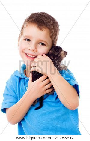Little boy with kitty on shoulder, isolated on white poster