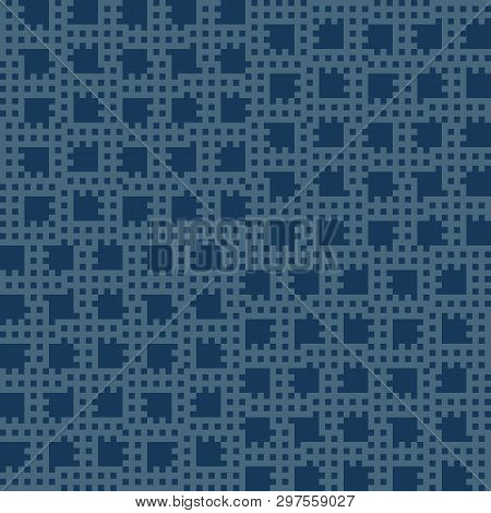 Vector Geometric Seamless Pattern With Small Squares, Repeat Tiles. Abstract Deep Blue Checkered Tex