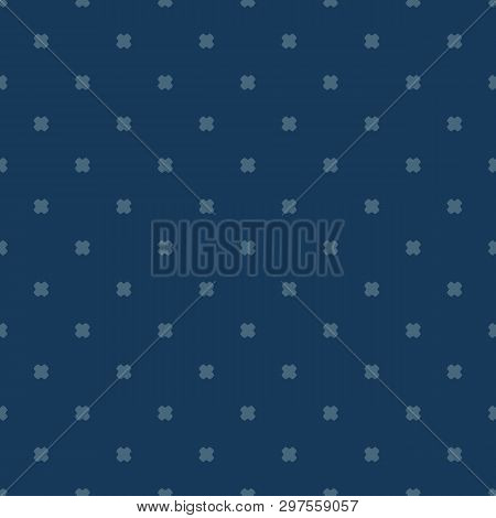 Vector Minimalist Geometric Floral Seamless Pattern. Navy Blue Color. Abstract Texture With Small Sc