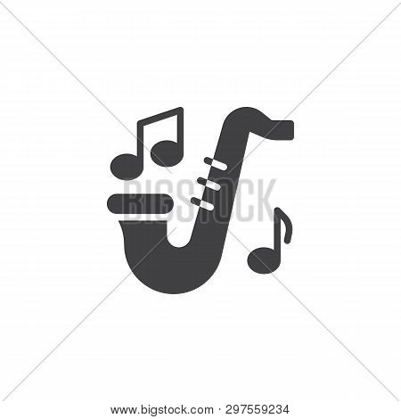 Saxophone And Music Notes Vector Icon. Filled Flat Sign For Mobile Concept And Web Design. Sax And M