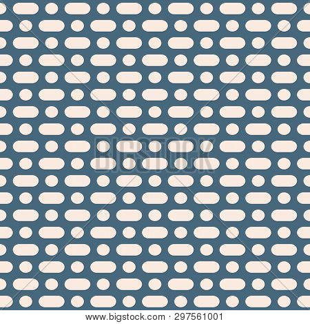 Vector Minimalist Seamless Pattern. Simple Geometric Background With Rounded Lines, Circles, Dots. A