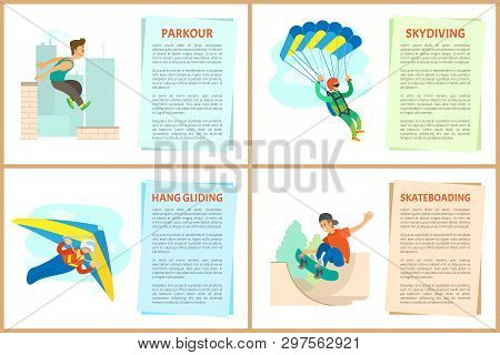 Skateboarding vector, paragliding and hang gliding, skydiving and parkour, poster with text sample. Extreme hobby of people, skydiver and skateboarder poster