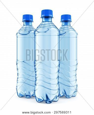 Group Of Three Plastic Bottles Of Still Water With Blue Cap Isolated On White Background. Front View