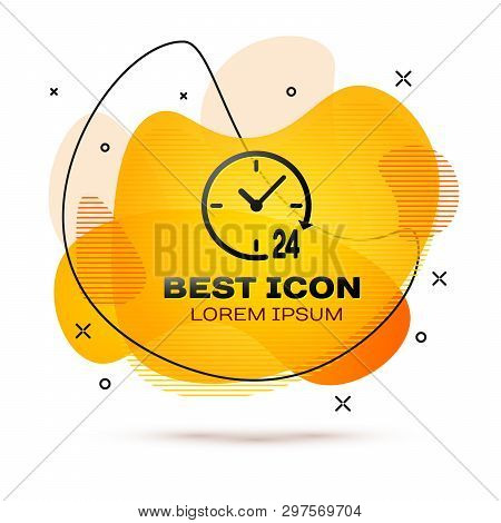 Black Clock 24 hours icon isolated on white background. All day cyclic icon. 24 hours service symbol. Fluid color banner. Vector Illustration poster