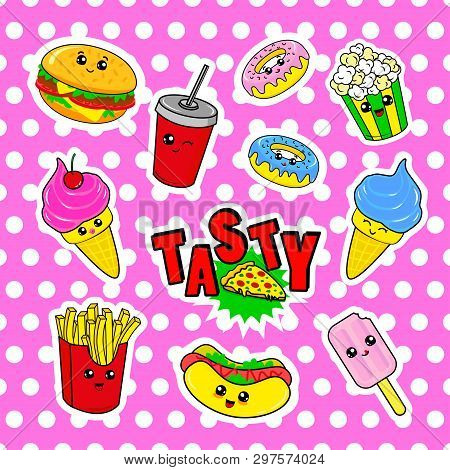 Fashion Patch Badges With Drink, Fast Food, Donuts, Ice Cream, Burger And Other. Very Large Set Of G