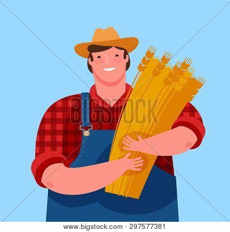 Farmer Holding A Sheaf Of Wheat. Agriculture, Cartoon Vector Illustration