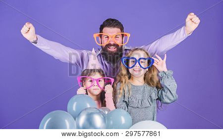 Lets Celebrate. Family Party. Family Of Father And Daughters Wearing Party Goggles. Father And Girl