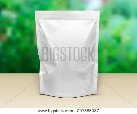 Mockup Pouch Sachet Stand Up Bag Food Flexible Snack Pack. Blank Mock Up Template On Table. Green Su