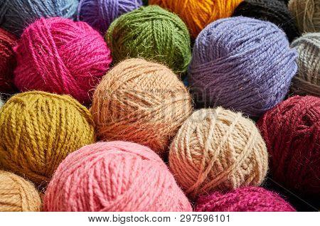 Colorful Wool Yarn Balls.