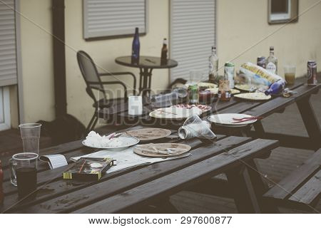 Mess After The Outdoor Party Like Barbeque.