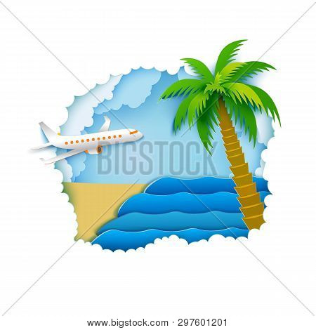 Paper Airplane Fly Away In Blue Sky With Clouds. Go To Summer, Beach And Tropic Palm. Go To Holidays