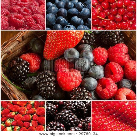 Composition of  fresh soft fruit images
