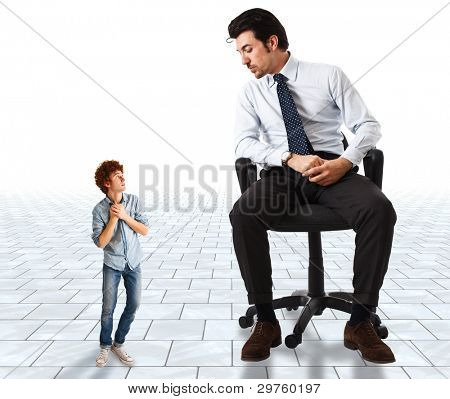 Small young man frightened by a big businessman