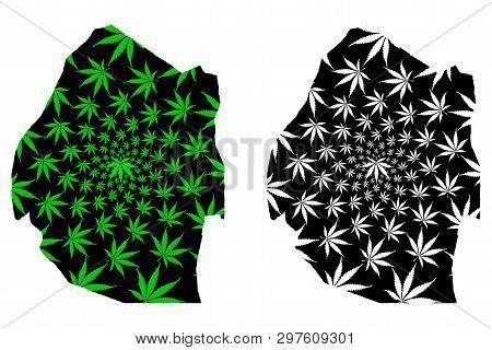 Swaziland - Map Is Designed Cannabis Leaf Green And Black, Kingdom Of Eswatini Map Made Of Marijuana