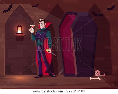 Smiling Vampire, Count Dracula Standing With Glass Of Blood Near Opened Coffin In Dark Dungeon Of Me