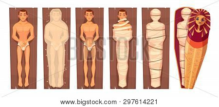 Egyptian Mummy Mummification Process In Stages Cartoon Vector Concept With Man Corps On Wooden Plate