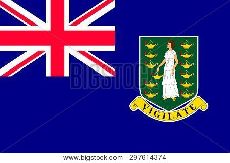 Flag Of British Virgin Islands In Caribbean Sea. Patriotic Country Symbol With Official Colors. Flag