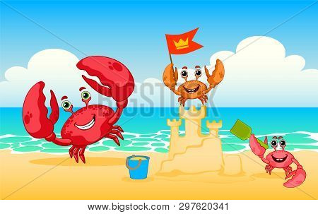 A Family Of Crabs Is Building A Sand Castle. Family Of Crabs On A Beach, Vector Red Crab. Happy Fami