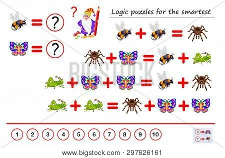 Mathematical logic puzzle game for smartest. Solve examples and count which of numbers corresponds to each of insect. Printable page for brainteaser book. Developing spatial thinking. Vector image. poster