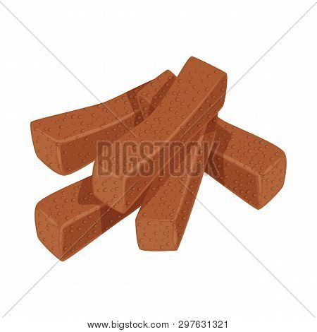Isolated Object Of Croutons  And Bread Sign. Set Of Croutons  And Crackers  Stock Vector Illustratio