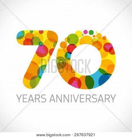 7 0 Th Anniversary Numbers. 7 Years Old Multicolored Logotype. Congrats 70th Greetings, Congratulati