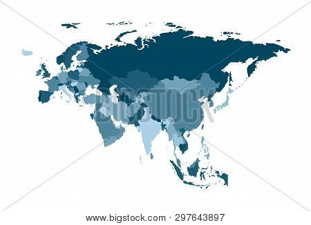Vector Illustration With Simplified Map Of Eurasia Continent. States Borders. Blue Silhouettes. Whit