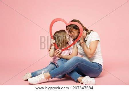 Woman In Light Clothes Have Fun With Cute Child Baby Girl. Mother, Little Kid Daughter Isolated On P