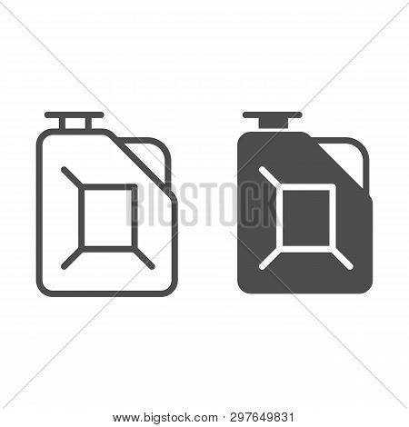 Fuel Canister Line And Glyph Icon. Jerrycan Vector Illustration Isolated On White. Petrol Tank Outli