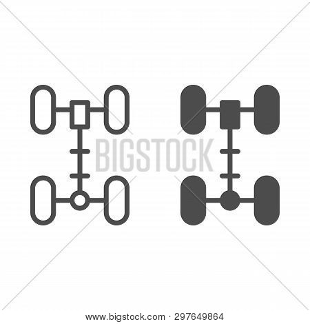 Chassis line and glyph icon. Wheel vector illustration isolated on white. Car part outline style design, designed for web and app. Eps 10. poster
