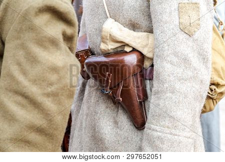 Vintage Leather Holster On The Belt. Retro Uniform Of Russian Army During Russian Civil War In 1918