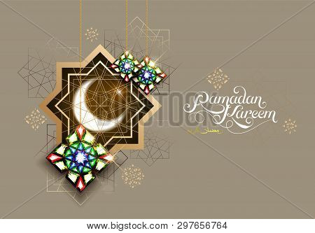 Ramadan Kareem. Abstract Girih Flower Encrusted With Color Crystals. Islamic Jewelry Ornament Design