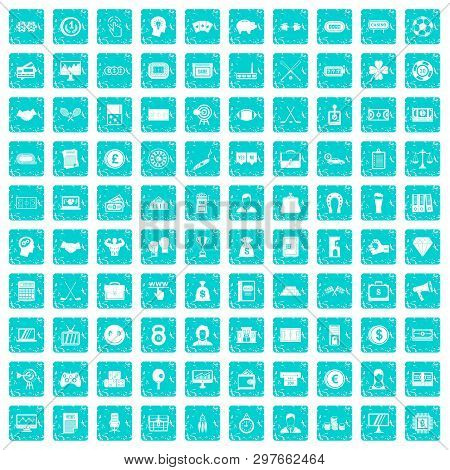 100 Sweepstakes Icons Set In Grunge Style Blue Color Isolated On White Background Illustration