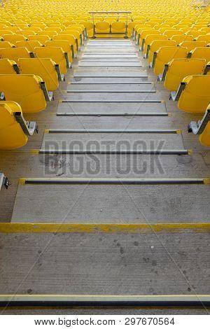 Wellington New Zealand 13th April 2019. Yellow Seating At Westpac Stadium