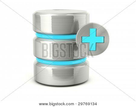 Metallic add data base icon