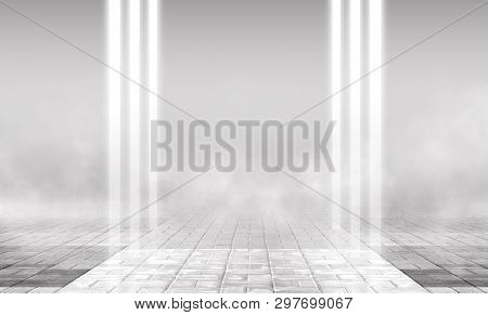 Empty Background Scene. Empty Street Background With Concrete Floor, Neon Lights And Smoke. Gray Abs