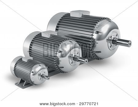 Set of different industrial electric motors