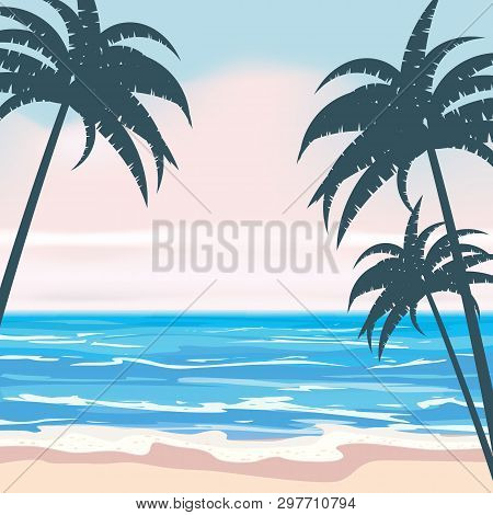 Summer Tropical Background Template With Exotic Palm Leaves And Plants, Shore Waves Surf Sea, Ocean.
