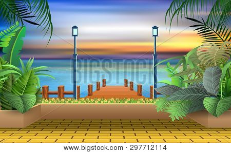 Landscape Of Walkway At The Beach In Sunset