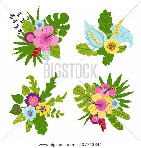 Set Of Tropical Bouquets Of Flowers And Leaves