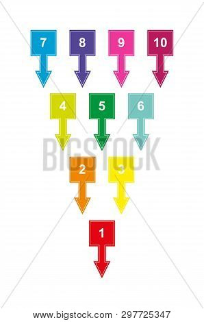 Set Of Colored Numbered Squares With Numbers From 1 To 10 With Down Arrows For Design And Decoration