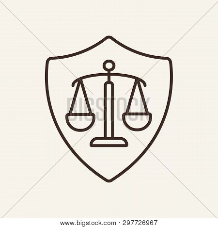 Legal Assistance Line Icon. Courthouse, Advocate, Attorney. Justice Concept. Vector Illustration Can