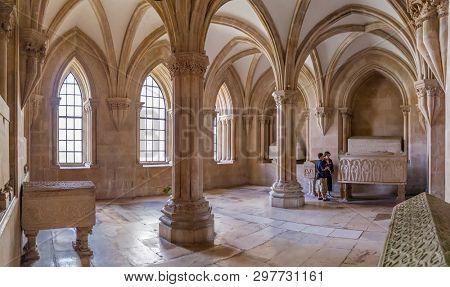 Alcobaca, Portugal - July 17, 2017: Royal Pantheon or Panteao Real aka Sala dos Tumulos in Monastery of Santa Maria de Alcobaca Abbey. Cistercian Religious Order.