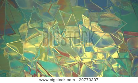 Shattered Glass Blue And Yellow Abstract Background