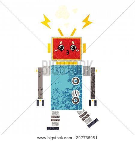 retro illustration style cartoon of a robot malfunction