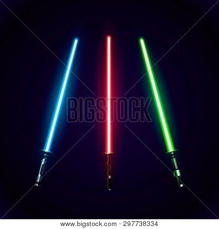 Set Of Realistic Light Swords. Abstract Fantasy Saber. Vector Illustration Isolated On Dark  Backgro
