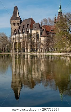 Vajdahunyad Castle And The Lake In Budapest, Hungary