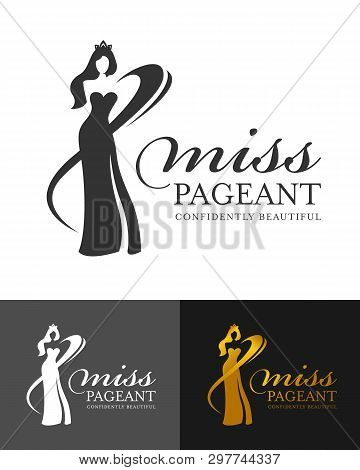 Miss Pageant Logo Sign With Abstract  Woman Queen Wear Crown And Line Curve Vector Design
