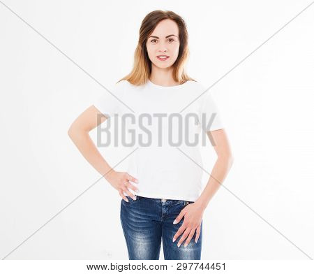 Tshirt Design, People Concept - Closeup Of Sexy Woman In White Shirt, Front Isolated. Mock Up Templa