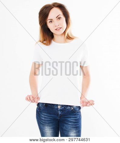 Pretty Sexy Woman In White T Shirt,shirt Design And People Concept. Shirts Front View Isolated On Wh