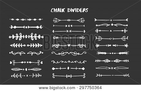 Chalk Graphic Dividers Collection - Different Chalk Forms On Black Board. Vector Illustration